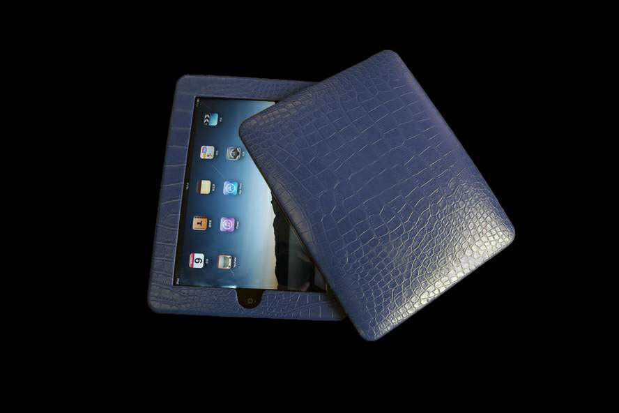 Apple iPad Exotic Alligator Crocodile Leather with Platinum Apple Inlay Blue Diamonds MJ Luxury Edition
