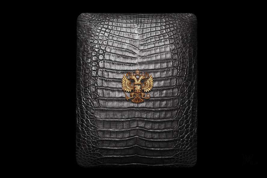 Apple iPad Exotic Crocodile Leather with Gold Diamonds Logo MJ Luxury Edition