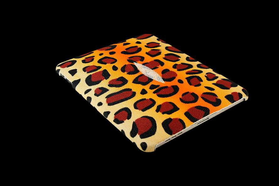 MJ Apple iPad Leather Genuine Exotic Stingray Color Print Leopard