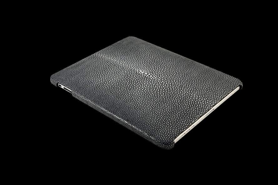 MJ Apple iPad Leather Genuine Exotic Stingray Polished Grey